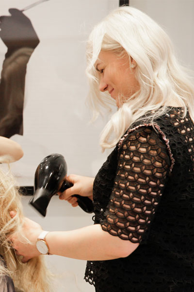 Our Stylist Mirka, working on blond hair