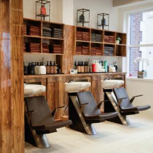 Backwash area at Hiro Miyoshi hair salon in Mayfair
