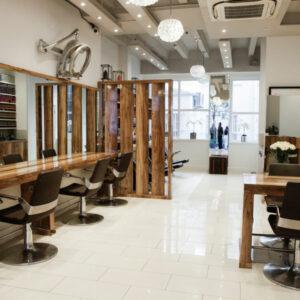 Luxury hair salon interior in London's Mayfair