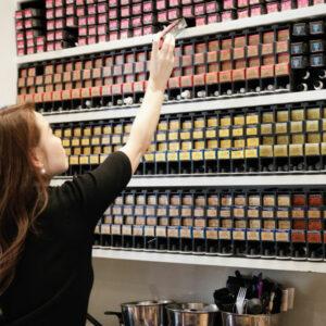Styling Director Yoko working at the colour bar at Hiro Miyoshi Mayfair