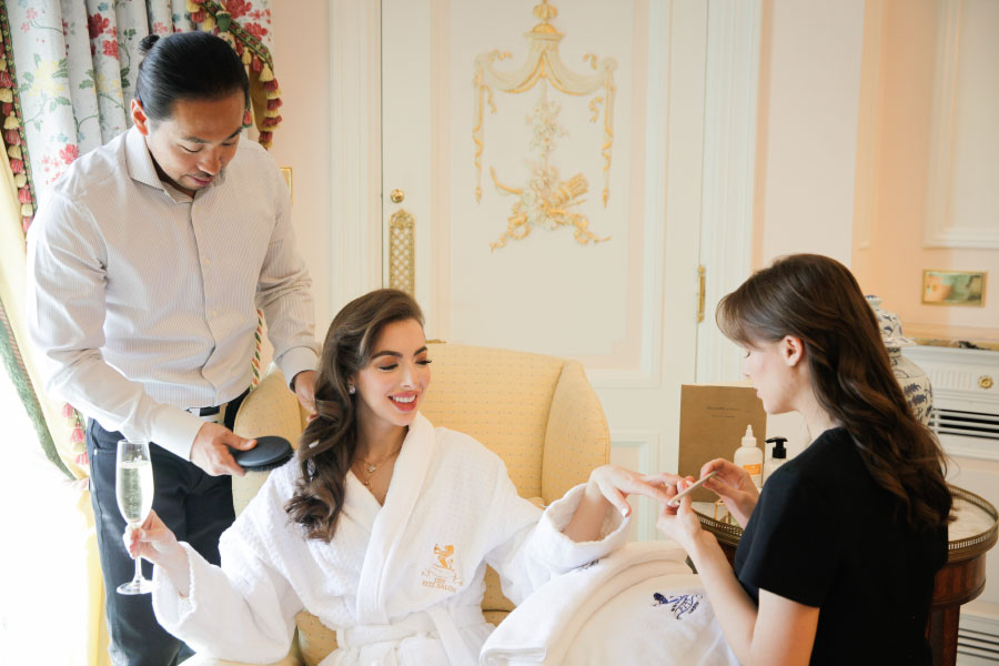 A client receiving a five-star treatment by team Hiro Miyoshi at The Ritz