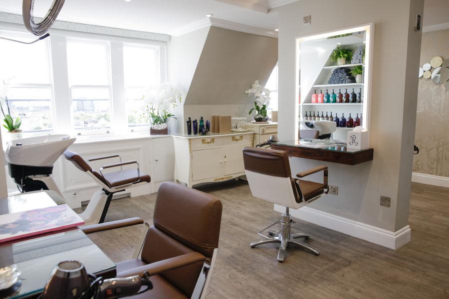 Magnificent interior of the hair salon and spa at Hiro Miyoshi at The Ritz
